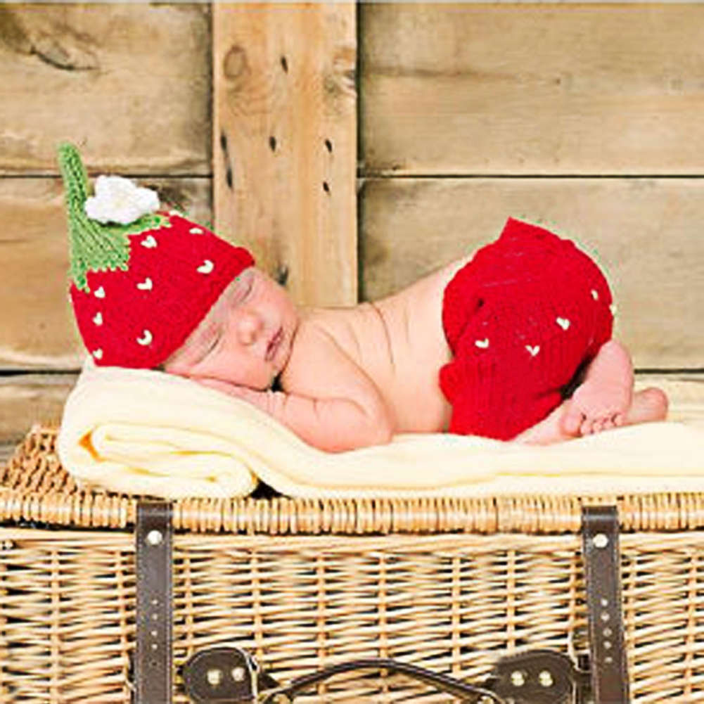 Newborn Baby Girls Boys Photo Props Strawberry Crochet Knit Costume Photo Photography Prop mttuzb newborn baby photography props infant knit crochet costume boys girls photo props children knitted hat pants set