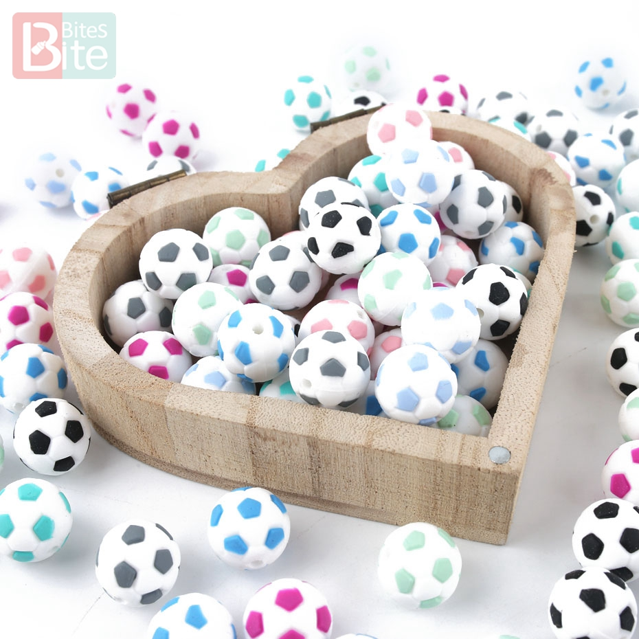 Silicone Beads 15mm Baby Teether Football Food Grade Silicone Soccer Round Bead 5PC BPA Free Bracelet Making Teether Bite Bites