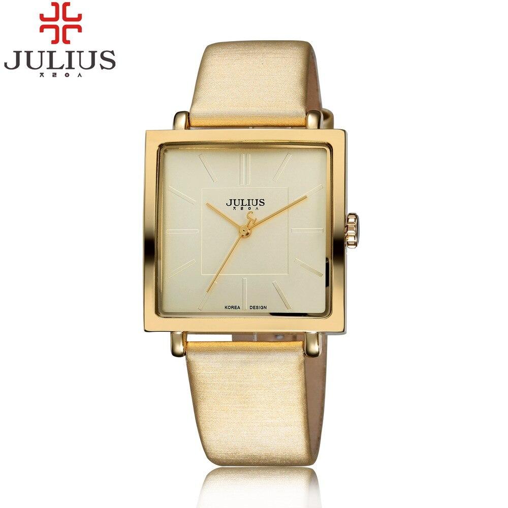0c807a126b2e 2016 JULIUS Marca Relojes de Cuarzo Mujeres Del Reloj de Oro Cuadrado Pulsera  De Cuero Casual Relojes de Moda Señoras reloj mujer montre femme ...