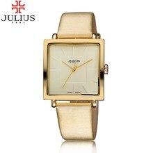 2016 JULIUS Marca Relojes de Cuarzo Mujeres Del Reloj de Oro Cuadrado Pulsera De Cuero Casual Relojes de Moda Señoras reloj mujer montre femme