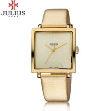 2016 JULIUS Brand Quartz Watches Women Clock Gold Square Leather Bracelet Casual Fashion Watch Ladies reloj mujer montre femme