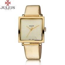 2017 JULIUS Brand Quartz Watches Women Clock Gold Square Leather Bracelet Casual Fashion Watch Ladies reloj mujer montre femme