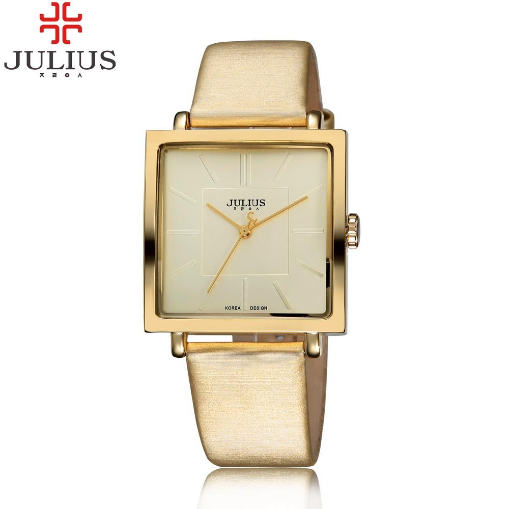 Prix pour 2017 julius marque quartz montres femmes horloge or carré bracelet en cuir casual montre de mode dames reloj mujer montre femme