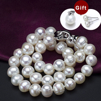 Aladdin Freshwater white pearl necklaces 9 11mm Irregular Round shape whorl beads choker Mother gift Box packaging High grade