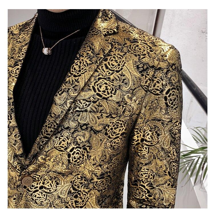 ¡Novedad de 2019! Blazer de lujo con estampado dorado para hombre, chaqueta para hombre, chaqueta ajustada para hombre de talla grande - 5