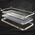 Quadro de alumínio do metal no vidro traseiro para iphone 6 + transparente pc camera proteção back cover case para apple iphone 6 s plus para carros de Metal