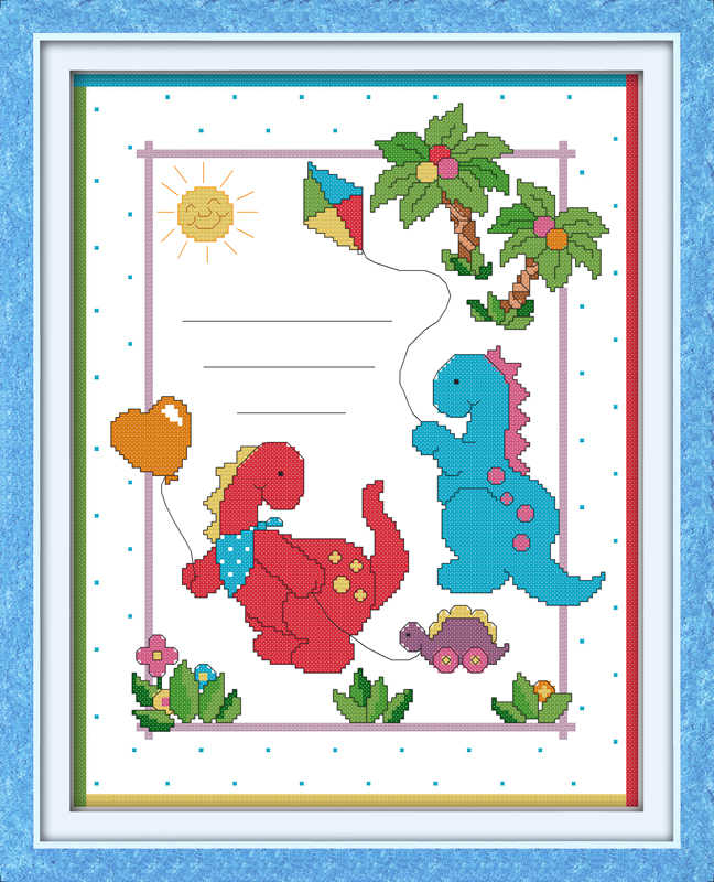 Рождения ребенка запись (5) (ребенок динозавров) вышивка крестиком комплект люди 18ct 14ct 11ct Количество печати холст стежки вышивка DIY
