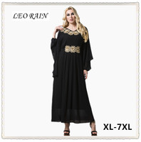 5xl 6xl 4xl Plus Size High Quality Black Bat Sleeve Embroidery Woman Muslim Long Maxi Dress