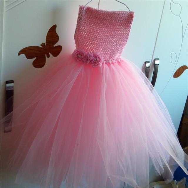 Tutú del partido del bebé vestido rosa con rosa flor cumpleaños boda ...