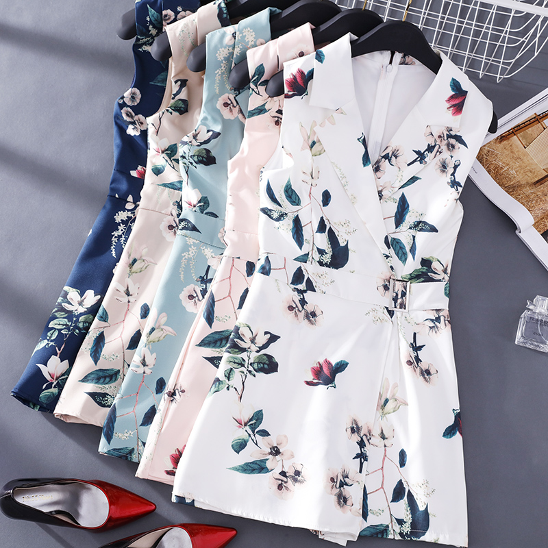 FMFSSOM Women Floral Print Vest Rompers New Summer Lady Sleeveless Turndown Collar Slim Short Rompers