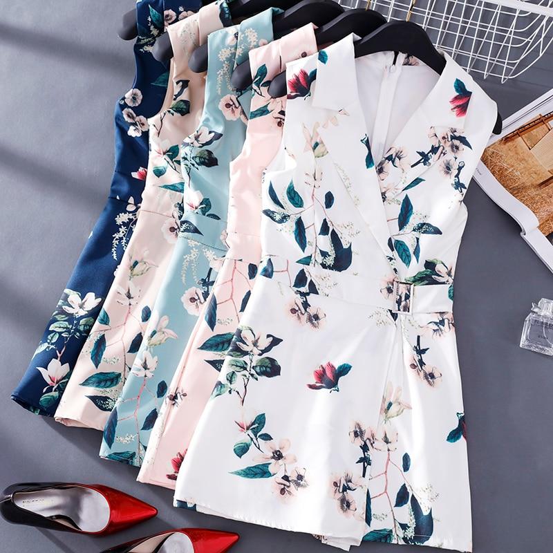 FMFSSOM Women Floral Print Vest Rompers New Summer Lady Sleeveless Turndown Collar Slim Short Rompers