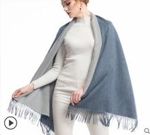 Pashmina Scarf Luxury Cashmere Wool Woman Long Scarfs Gray Blue Double sides High Quality Natural Fabric Free Shipping