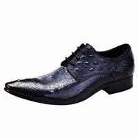 2018 Весна крокодил узор Пояса из натуральной кожи Мужские туфли Британский мужской моды Модная обувь Для мужчин S Бизнес обувь больших разме