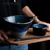 ANTOWALL European Style Deep Blue Personalized Bowl Double Hole Handle Ceramic Noodle Bowl Irregular Salad Large Bowl