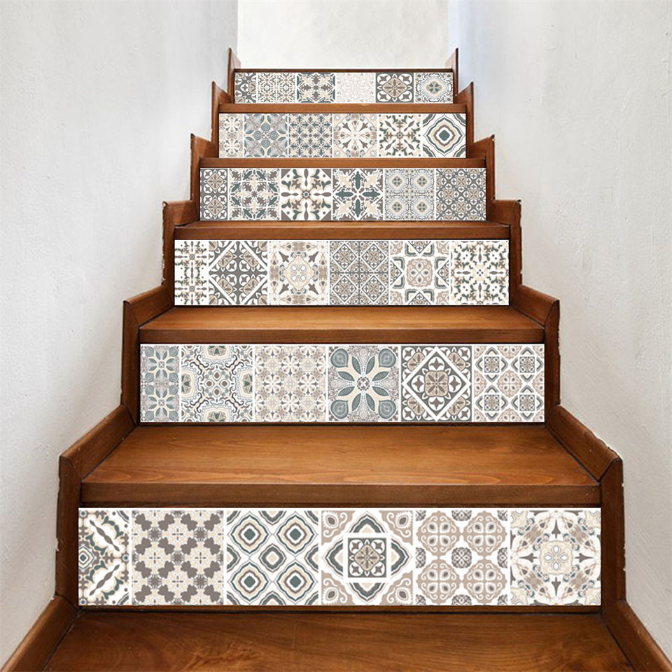 6 pçs/set Árabe Imitação Telha Escada Corredor Escadas Adesivos de Vinil DIY Renovação Decal Autoadesivo Wallpaper Home Decor