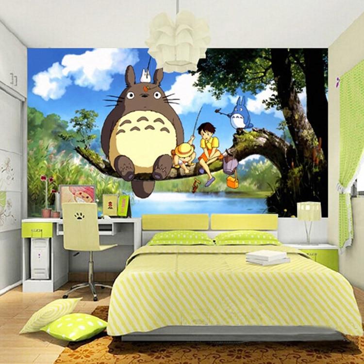 Cute Japanese anime Totoro Wall Mural Silk Wallpaper Custom Large ...