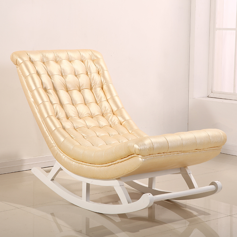 Modern Design Rocking Chair White Leather&Wood Home Furniture Living Room Adult Luxury Rocking Chair Rocker Chaise Design