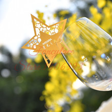 50pcs Gold Shiny Star Wine Glass Place Name Cards Markers Party Table Invitation Wedding Event Decoration Supplies