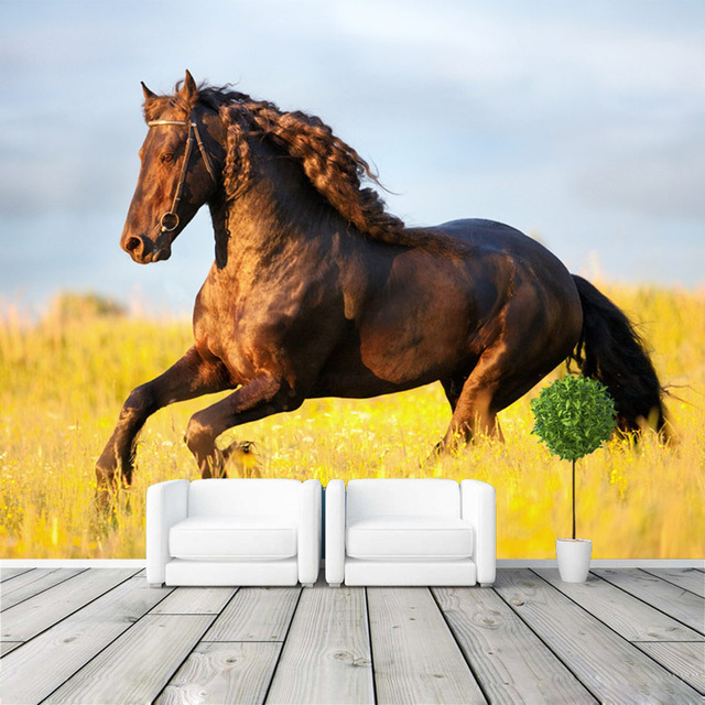Beautiful Prairie Horse Wallpaper Custom Wall Mural 3D Animal Photo wallpaper Bedroom Boy Kid Bedroom Room decor Natural scenery