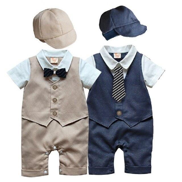 26805bb308e6 Beau Bébé Garçons Vêtements Nouveau-Né Barboteuses Gentleman Costumes Bébé  Combinaisons Avec Chapeaux À Manches