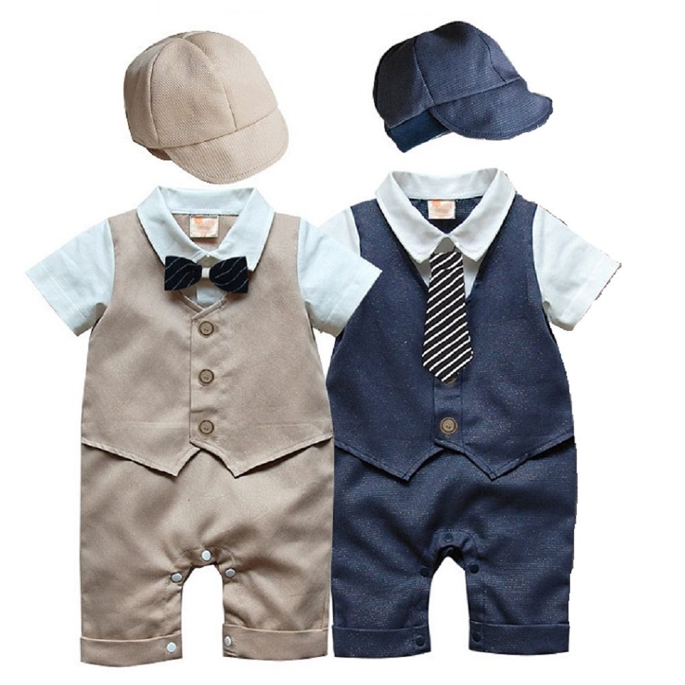Handsome Baby Boys Clothes Newborn Rompers Gentleman Costumes Baby Jumpsuits With Hats Short Sleeve Tuxedo Vest Cotton Bow Ties cotton baby rompers set newborn clothes baby clothing boys girls cartoon jumpsuits long sleeve overalls coveralls autumn winter