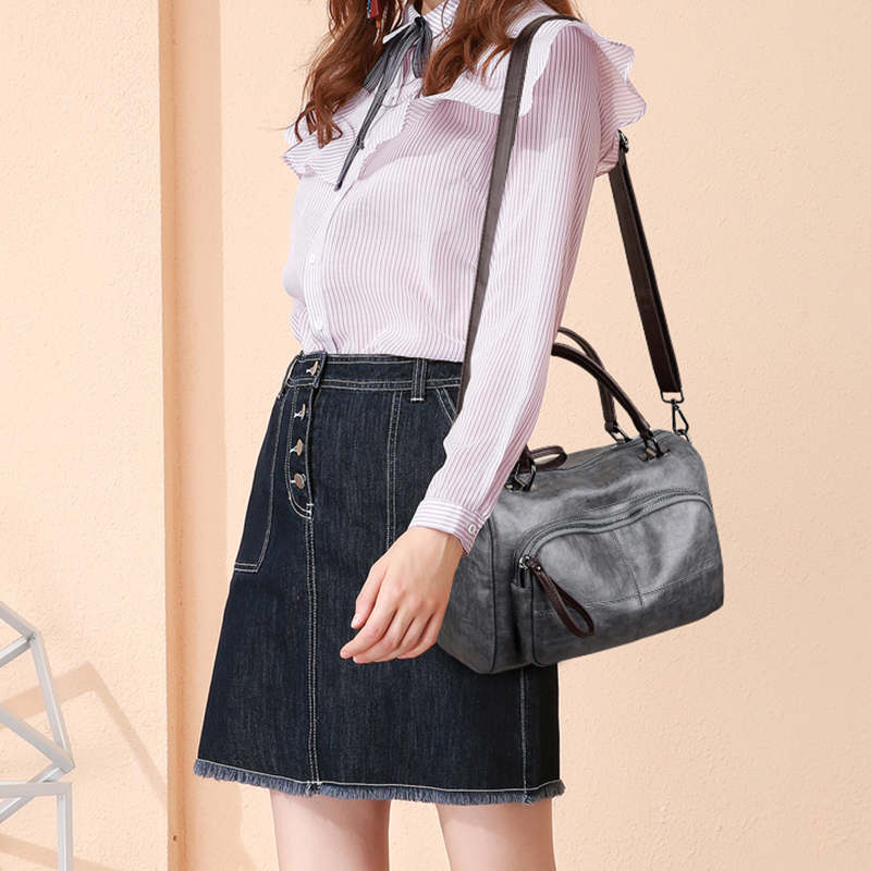 Women Bag 2019 Vintage Over Shoulder Bag Women Handbags Soft Leather Crossbody Bags For Women Ladies Boston Bolsa Feminina in Shoulder Bags from Luggage Bags