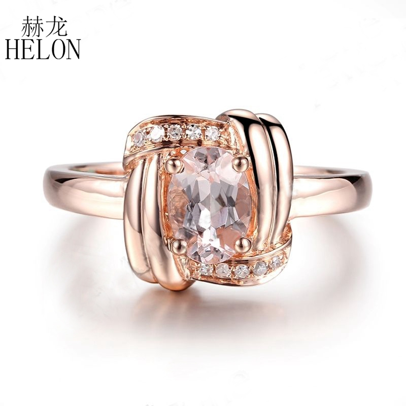 HELON 7X5mm Oval Cut Morganite Natural Diamond Jewelry Unique Engagement Wedding Fine Ring Solid 10K Rose Gold Women's Jewelry helon solid 10k rose gold oval cut 7x5mm morganite natural diamond ring engagement wedding gemstone ring gift jewelry setting