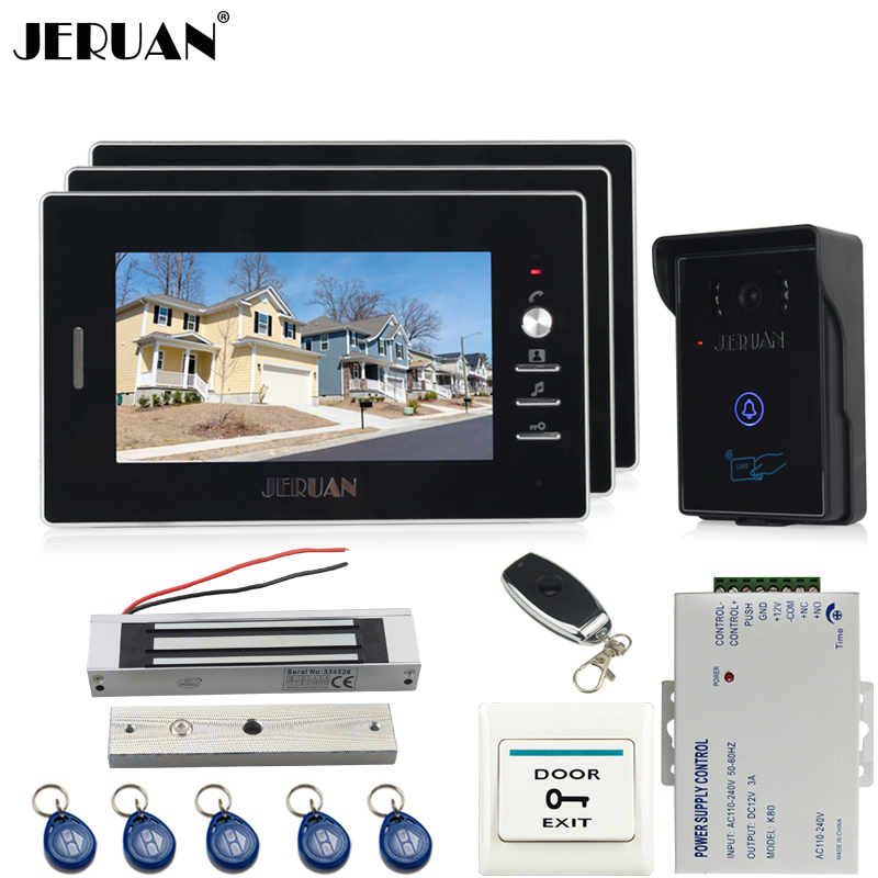 JERUAN three desk 7`` luxury Video Intercom Entry Door Phone System+700TVL Touch Key Waterproof RFID Access Camera+Magnetic lock jeruan 7 inch video door phone intercom system kit rfid touch key waterproof access camera 180kg magnetic lock remote control