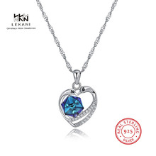 LEKANI Crystals From Swarovski Necklace 925 Sterling silver heart pendant necklace Exquisite prom ladies jewelry Creative
