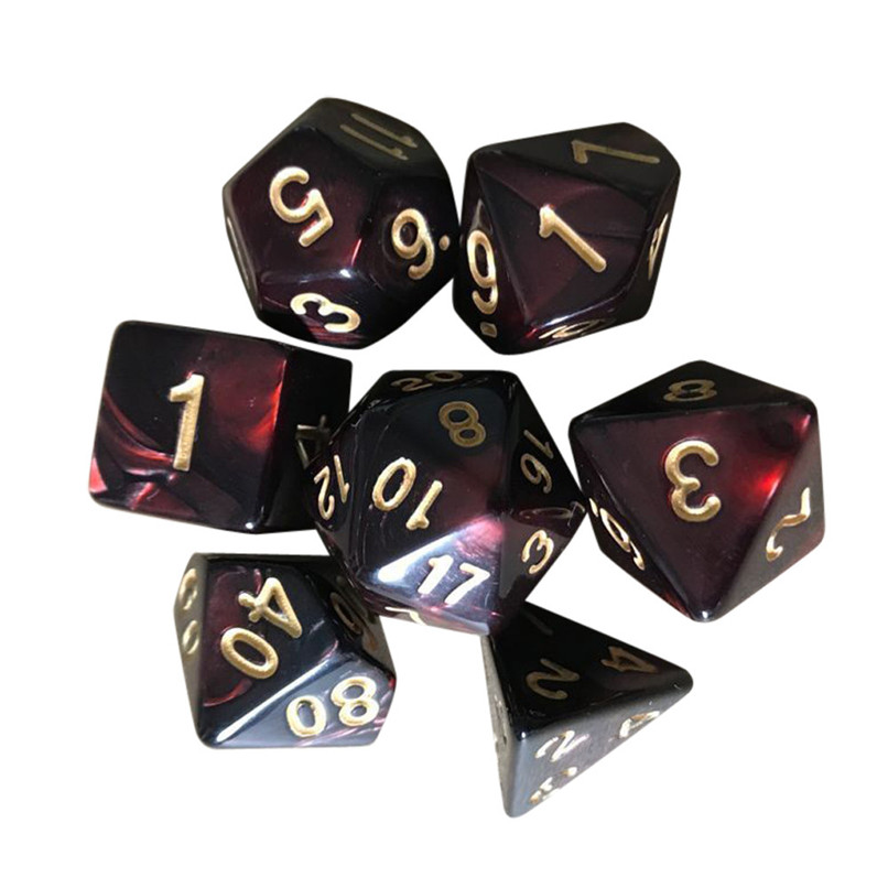 7pcs/Set TRPG Game Polyhedral D4-D20 Multi Sided Acrylic Dice Entertainment Tool 7 Colors #2o23