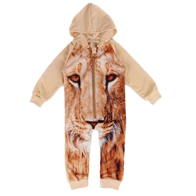 214d08393983 Newborn Romper Infant Kids 3D Tiger Print Rompers Long Sleeve Baby Boys  Girls Outfits Jumpsuit Clothes