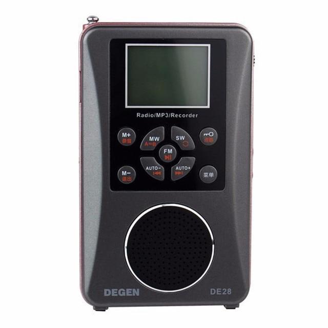 Original Degen Radio FM/MW/SW DE-28 Full-Banda de Onda Corta de Radio receptor de radio digital portátil Soporte de gran Tamaño Con Retroiluminación LED