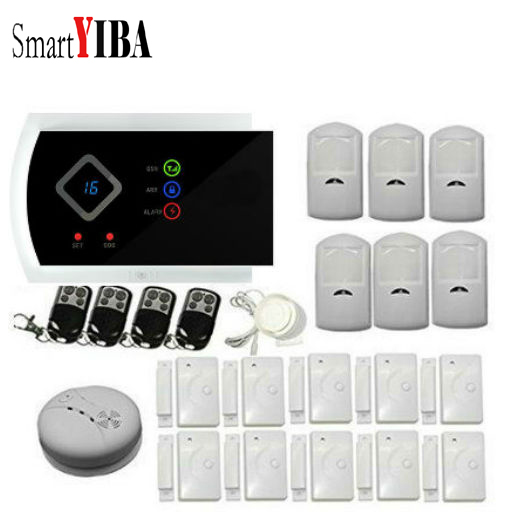 SmartYIBA APP Control Smoke Sensor Fire Alarm Motion Detector Siren Door Alarm Kits For Wireless Home Security Alarm System 1set home security protection gsm sms wireless alarm system pir motion detector smoke alarm magnet door sensor wireless siren