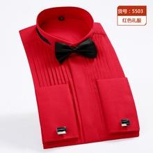 Рубашка с длинными рукавами, однотонная, вечерняя рубашка с воротником, модная рубашка на свадьбу