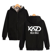 Korean co ed group K.A.R.D Hoodies With Zipper Hat K Pop Moombahton EDM KARD SOMIN Fashion Thick Warm Hooded Sweatshirt Zip Up