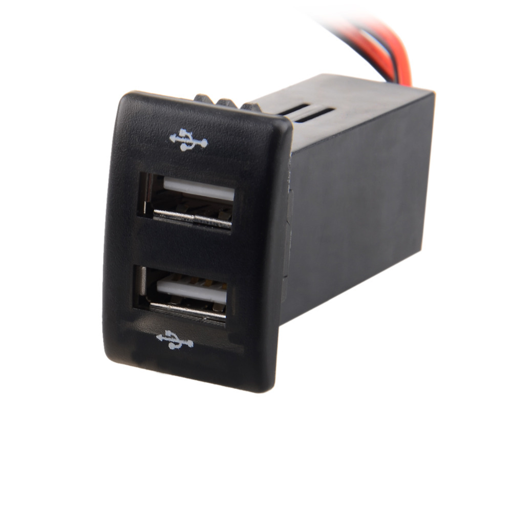 12v 2 1a Dual Usb Port Power Socket Mobile Gps Car Charger For Mazda Black In Cables Adapters