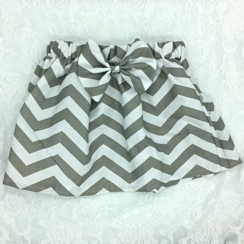 Hot Retail Baby Skirts Infant Chevron Zigzag Print Mini Skirts Summer Cotton Pettiskirt with Big Bow Newborn Casual Beach Skirts