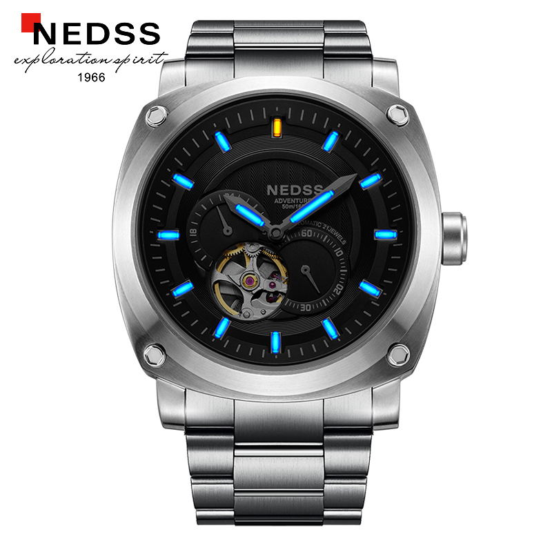 NEDSS mens watches top brand luxury wristwatch skeleton Watch Men automatic watches Tritium Luminous Waterproof Black clock 2017