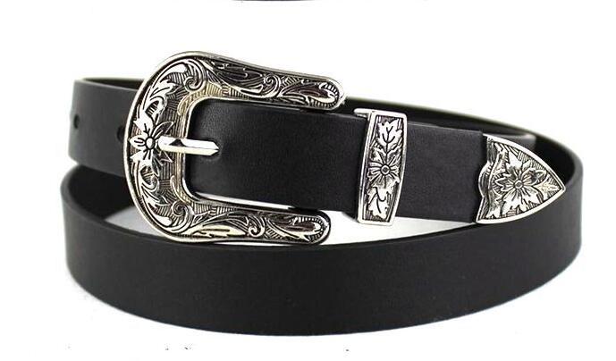 Женский черный кожаный ковбойский пояс с металлической пряжкой Новинка хит - Цвет: Silver