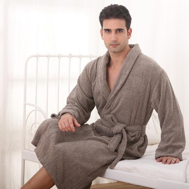 Cotton men XXL nightgown blanket sleepwear boy towel bathrobe thickening  lovers long 12d1f66af