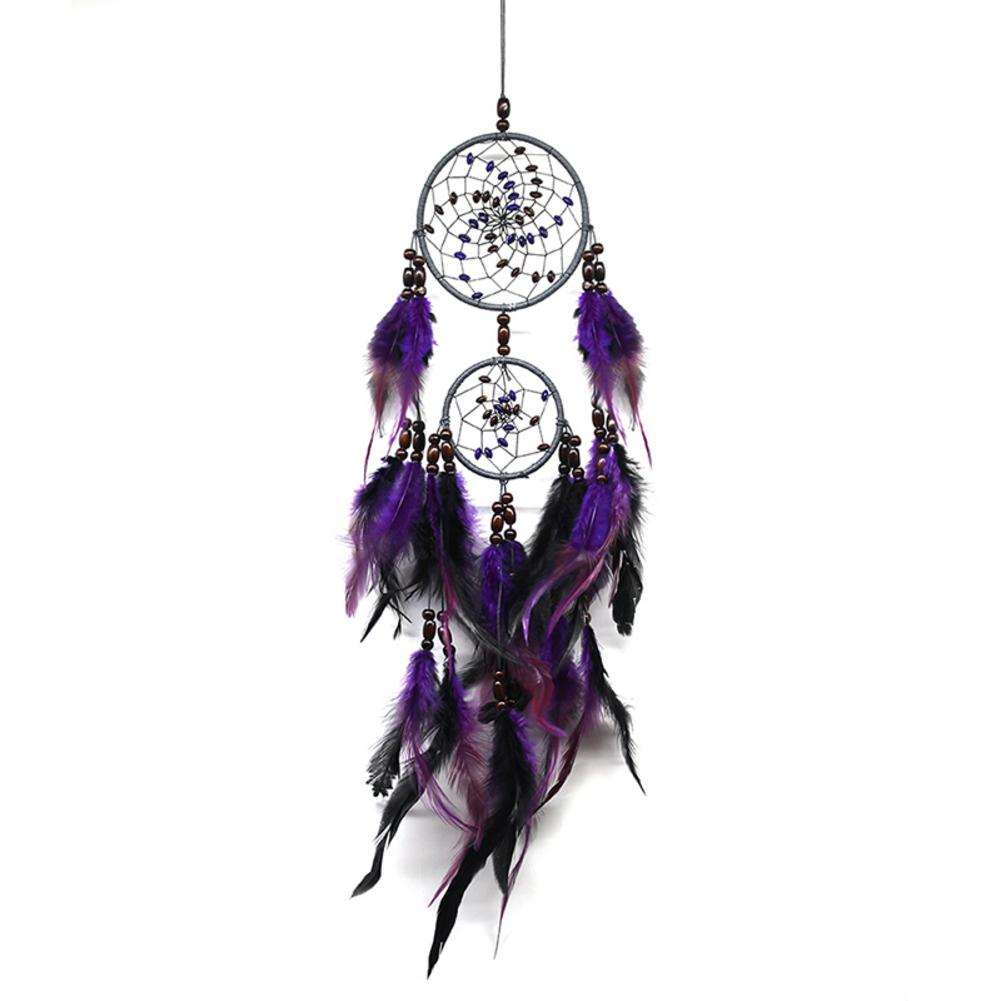 NEW Purple Feather Crafts Dream Catcher Wind Chimes Handmade Indian Dreamcatcher Net for Wall Hanging Car Home Decor Gift #BW