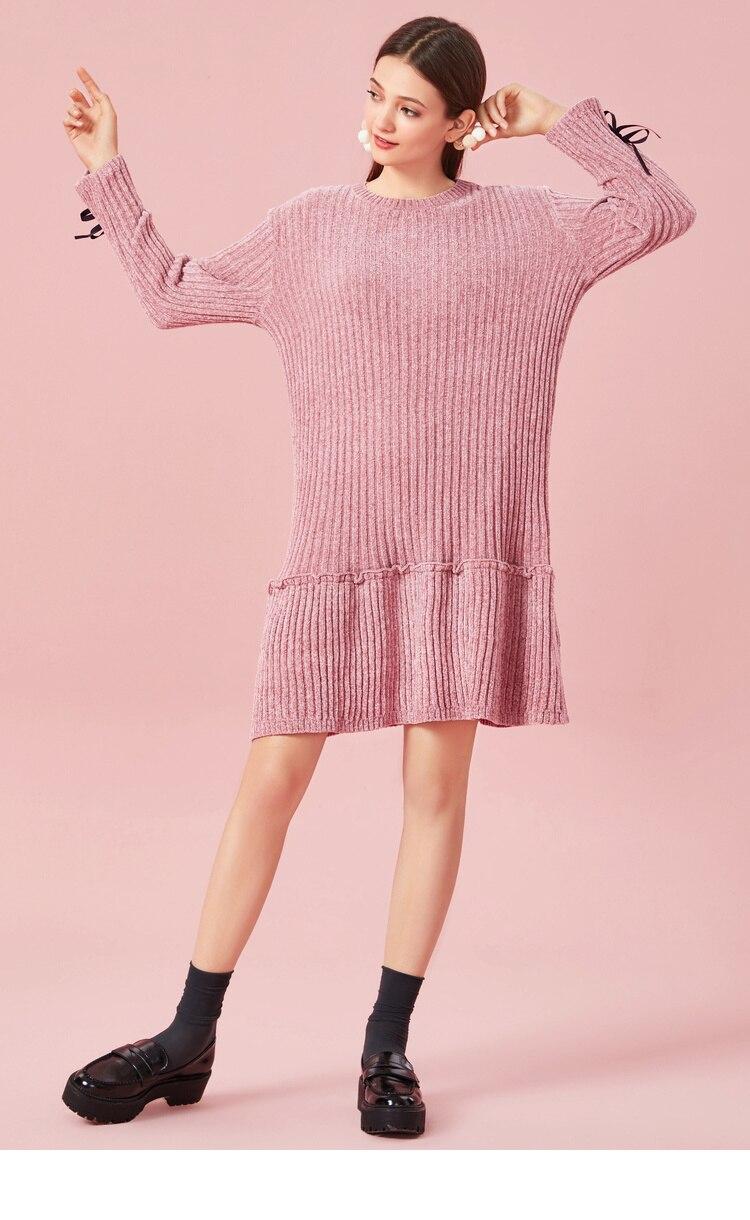 SEMIR Women Rib-Knit Flared Sweater Dress in Soft Chenille Yarn with Ties at Cuff Ribbing at Crewneck Long-sleeved Knit Dress 39