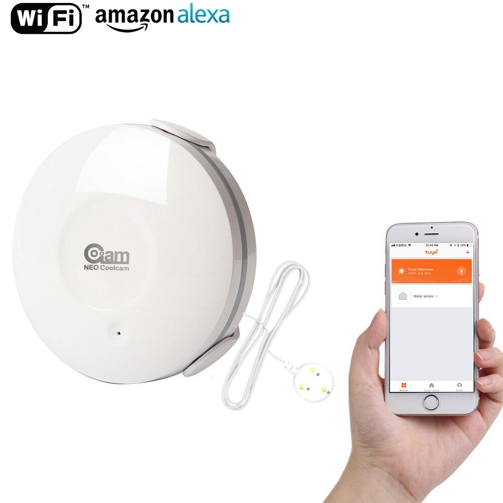 Coolcam Smart Eau Capteur WiFi, l'eau D'inondation Wi-Fi et Détecteur De Fuite D'alarme Capteur et App Alertes de Notification, sans Hub Exploité