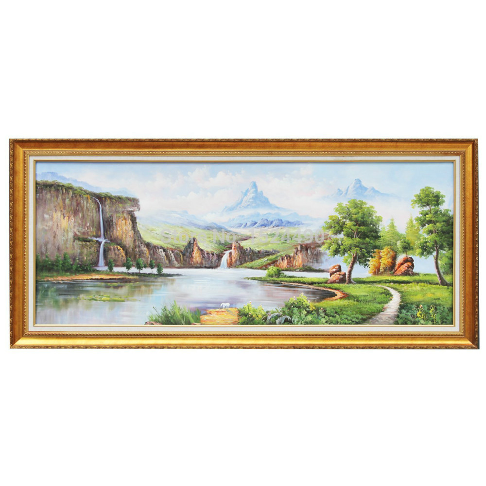 Handpainted Chinese Style Scenic River Landscape Oil Painting On Canvas Wall Art For Home Decoration Office Decoration