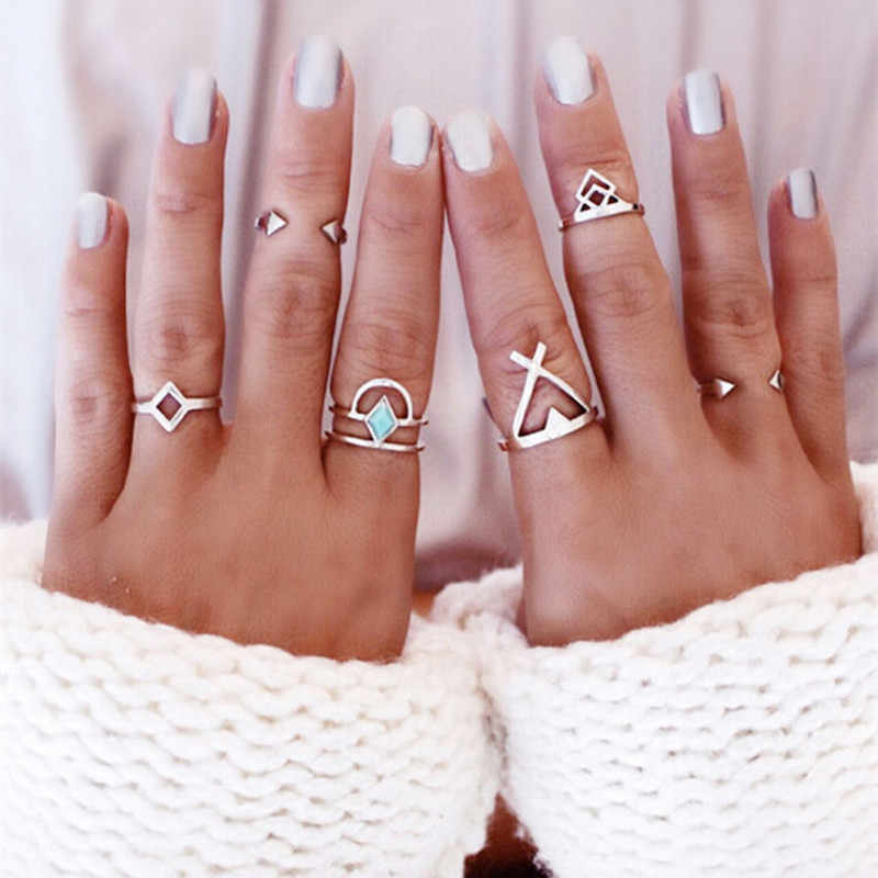 Random Color 6 pcs/set Bohemian Opening Rings Gold Silver Arrow Cross Geometric Rhombus Triangle Joint Ring  8CRD34