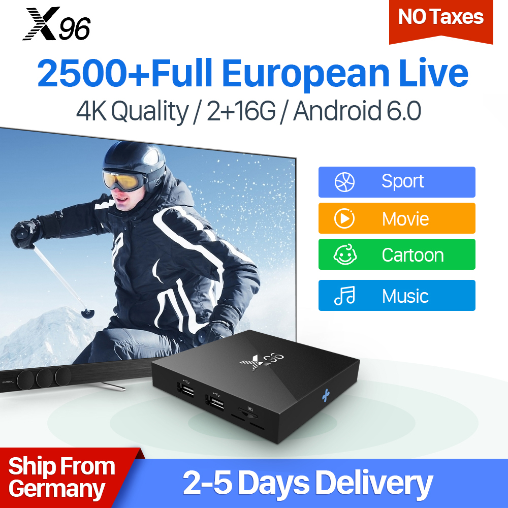IPTV 1 Year IUDTV Subscription X96 Android 6.0 Smart TV Box Europe Channels Quad Core 4K 2G 16G S905X French Swedish IPTV Box smart iptv box quad core android tv box 1g 8g with arabic iptv europe iptv subscription 1 year qhdtv iudtv account media player