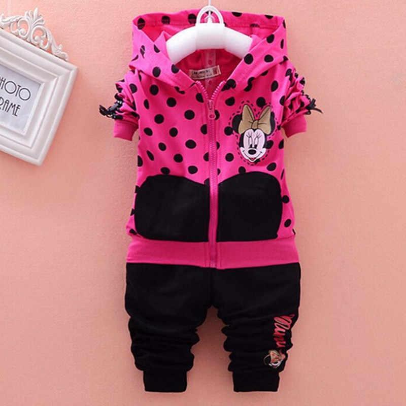 4ce1f46163e ... Bebé niñas conjuntos de ropa de dibujos animados Minnie Mouse 2019 de  los niños de invierno ...
