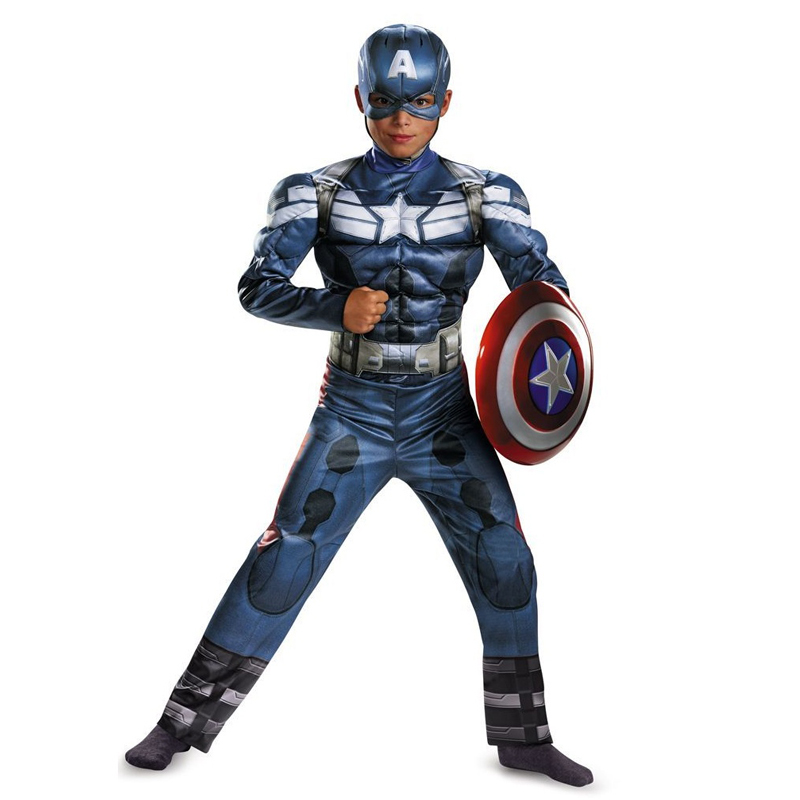 Orijinal Boys Captain America Movie 2 Klassik Muscle Halloween Cosplay Kostyumu