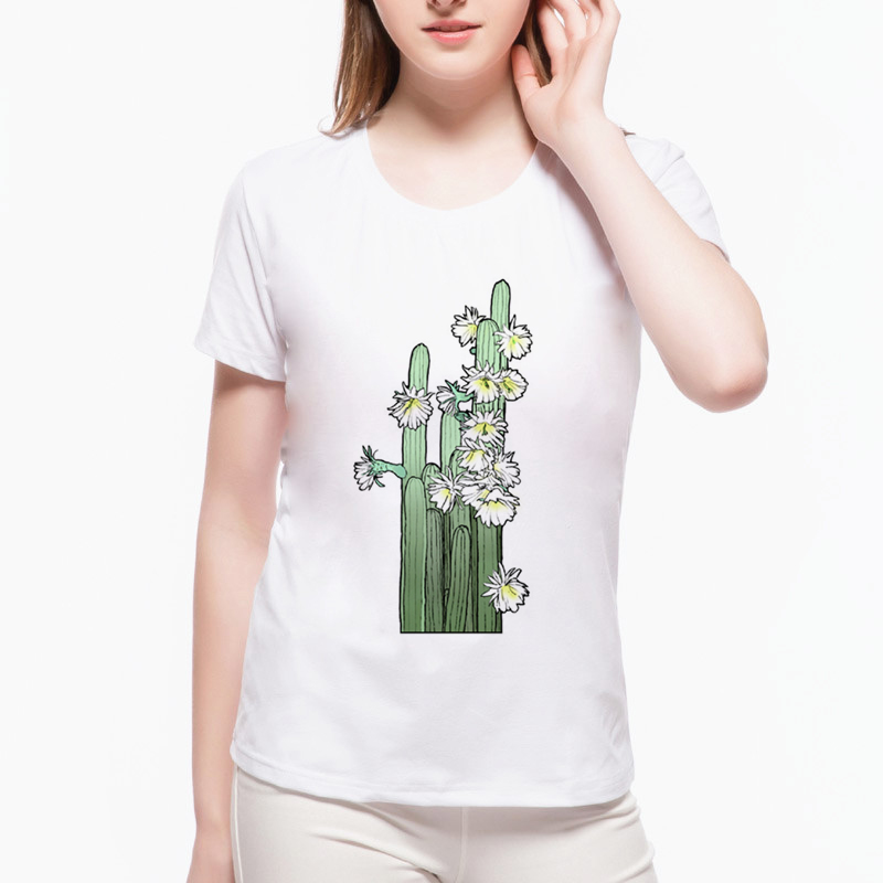 <font><b>2019</b></font> <font><b>Summer</b></font> <font><b>Women</b></font> Kawaii <font><b>T</b></font> <font><b>Shirt</b></font> Desert Cactus <font><b>Flower</b></font> Print <font><b>T</b></font> <font><b>Shirts</b></font> <font><b>Harajuku</b></font> Graphic Tops Tees Lovely Camiseta Feminina L4-12 image