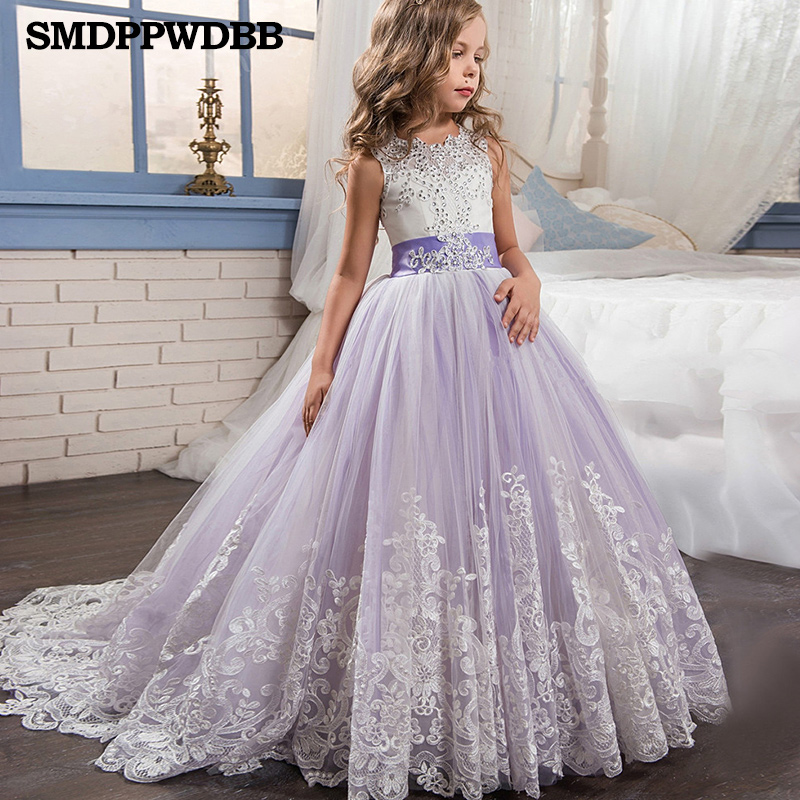Kids Girls Elegant Wedding Lace Flower Girl Dress Princess Party Pageant Formal Long Sleeveless Lace Tulle Evening Dress 2-14 Y kids girls long sleeve white girl flower dress pageant wedding party formal occasion bridesmaid wedding girls tulle dress